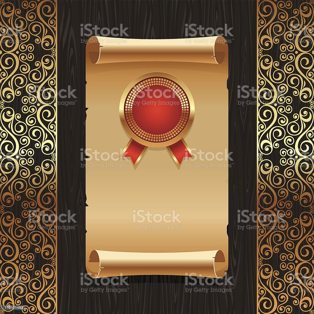 Vector vintage paper scroll with golden seal royalty-free stock vector art