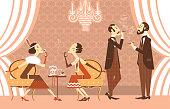 Vintage Flapper girls and genltemen talking in room.Vector illustration of retro party