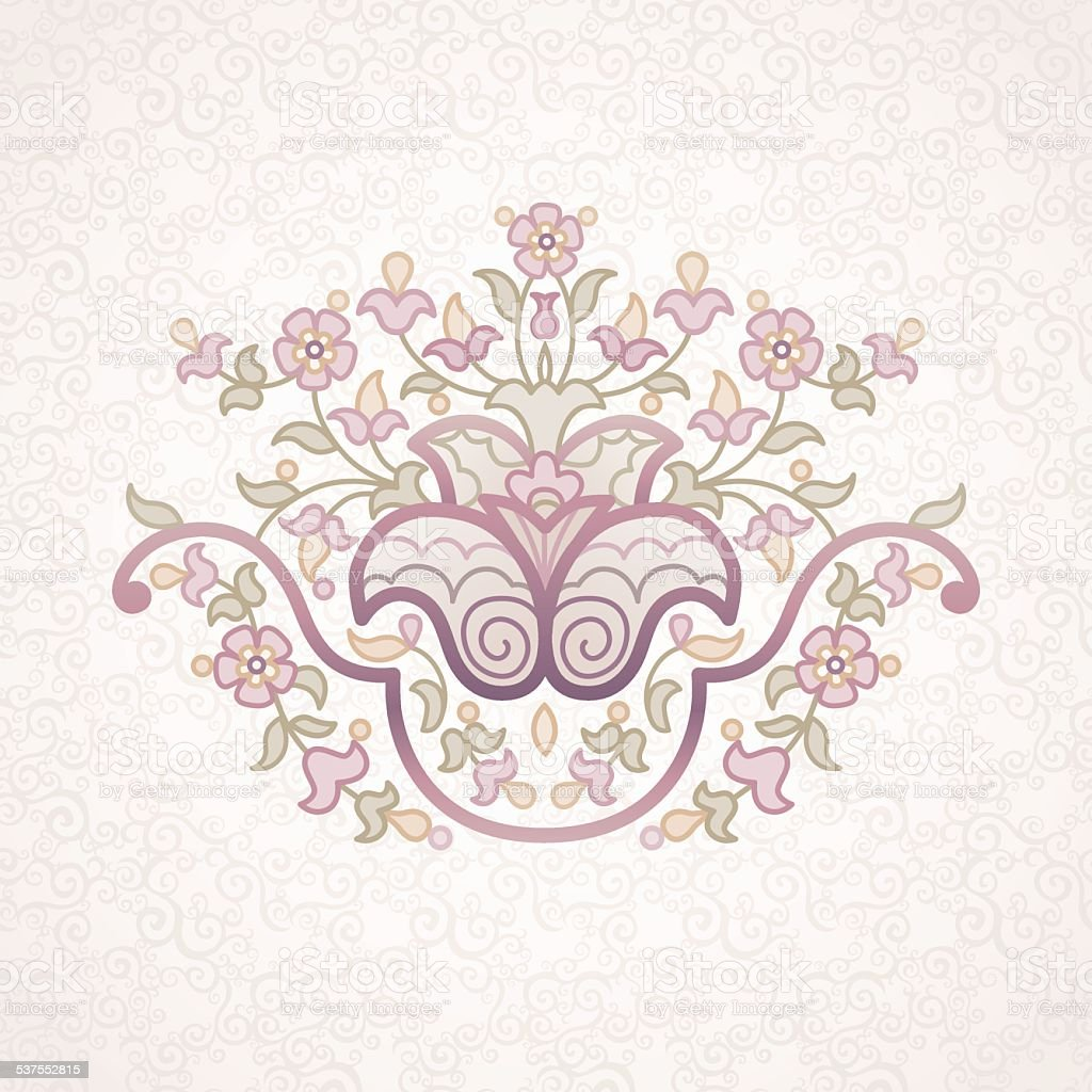 Vector vintage pattern in Eastern style on scroll work backgroun vector art illustration