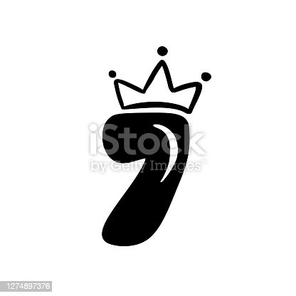 istock Vector Vintage Plump Cute number 7 with crown. Princess element seven font logo. Valentine hand drawn alphabet sign for page decoration and design illustration. For greeting card, wedding or invitation 1274897376