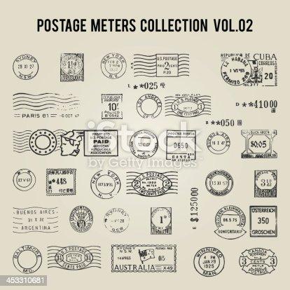 istock vector vintage postage meters 453310681