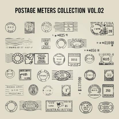 vector vintage postage meters