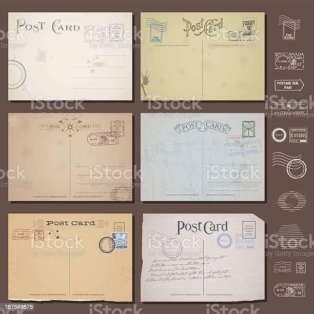 Vector vintage postcard designs with stamps vector id187549875?b=1&k=6&m=187549875&s=612x612&h=jszbodro3zxhn x ds8jljn0yg 2inzxa26r2r2etws=