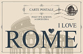 Retro postcard with words I love Rome and a postmark. Vintage vector card with the image of Roman Coliseum, the famous architectural landmark of Ancient Rome