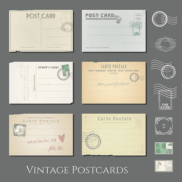 vector vintage postcards collection vector art illustration