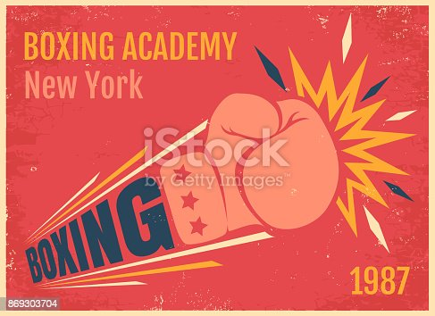 Vector vintage poster for a boxing with glove. Emblem for boxing on old paper background.