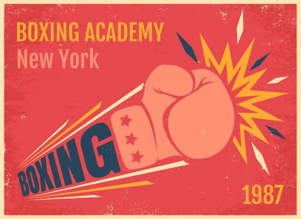 stockillustraties, clipart, cartoons en iconen met vector vintage poster voor een boksen - punch