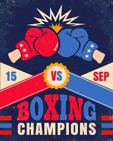 Vector vintage poster for a boxing with two gloves