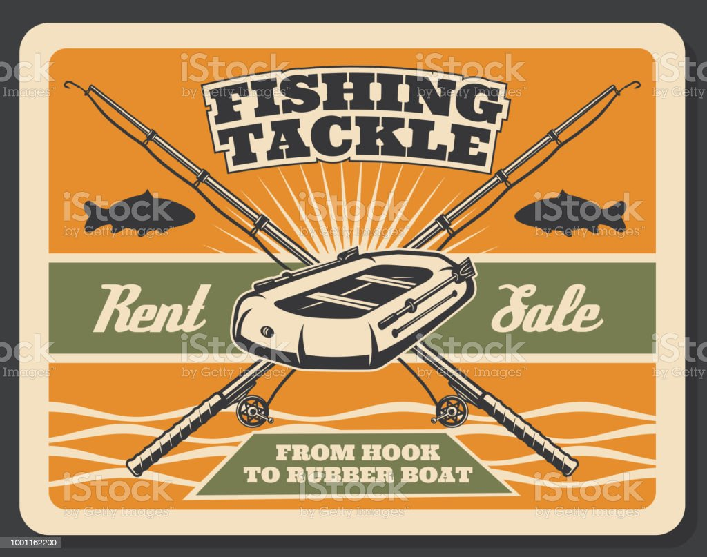 Vector vintage poster for fishing store vector art illustration