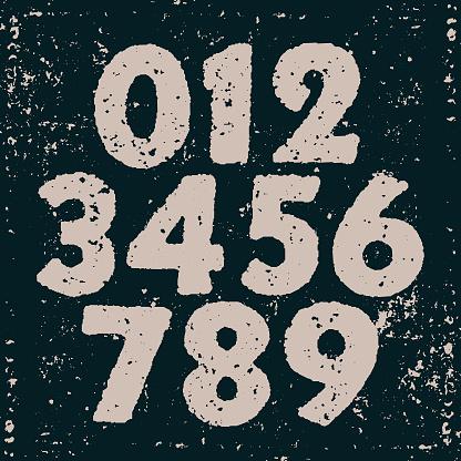 Vector vintage printed numbers - v2
