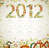 Vector Vintage retro calendar 2012