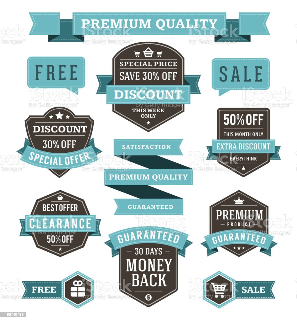 Vector vintage sale labels and ribbons set vector art illustration