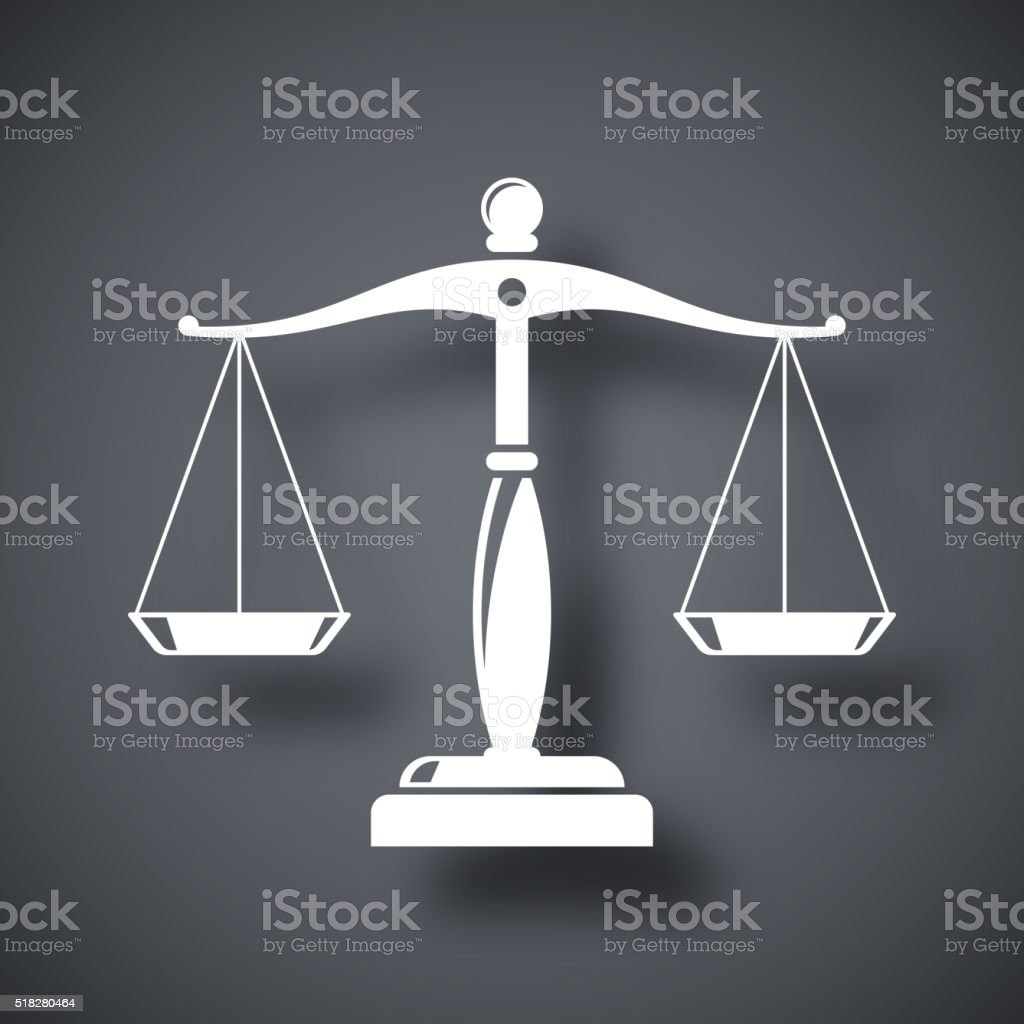 Vector vintage scales of justice icon vector art illustration