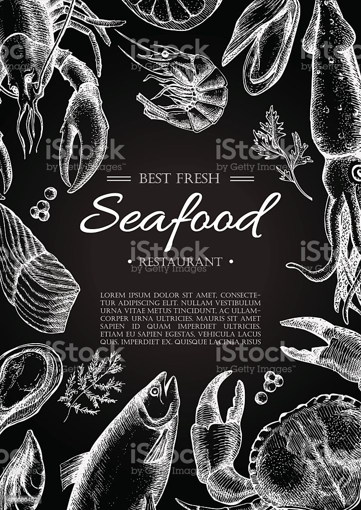 Vector vintage seafood restaurant flyer. vector art illustration