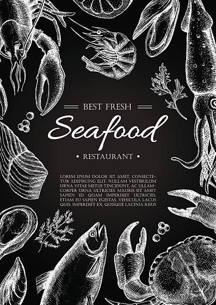 illustrazioni stock, clip art, cartoni animati e icone di tendenza di vettoriale vintage pesce ristorante flyer. - banchi di pesci