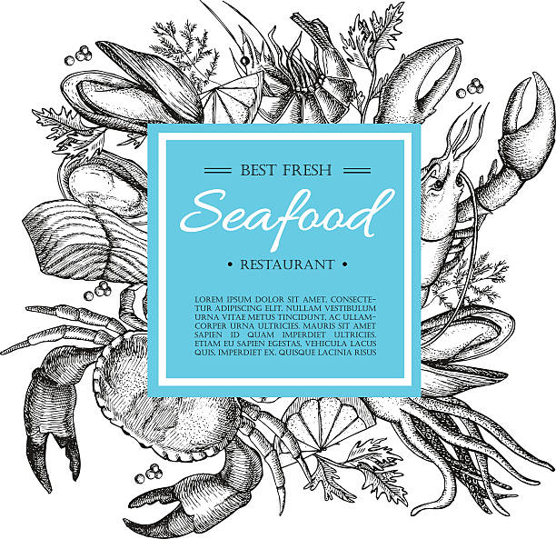 ilustraciones, imágenes clip art, dibujos animados e iconos de stock de vector ilustración vintage restaurante de pescados y mariscos. banner dibujados a mano. - pescado y mariscos