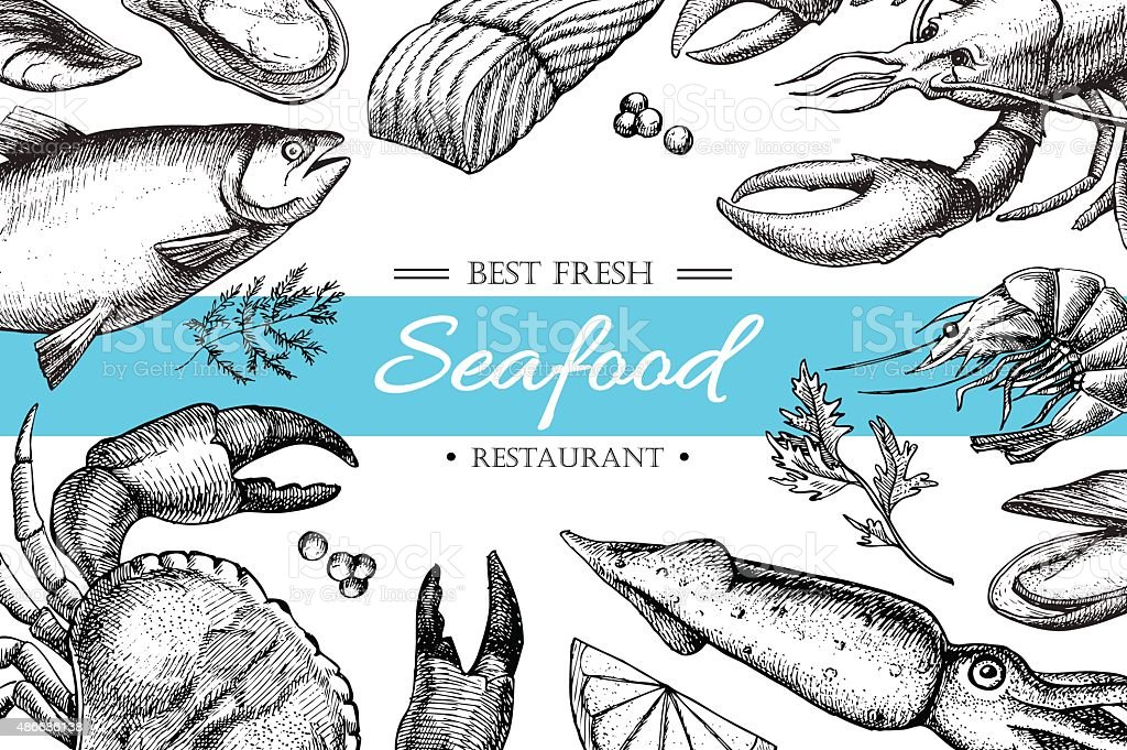 Vector vintage seafood restaurant illustration. vector art illustration