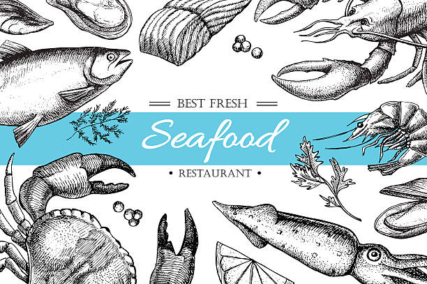 Vector vintage seafood restaurant illustration. Vector vintage seafood restaurant illustration. Hand drawn banner. Great for meny, banner, flyer, card, seafood business promote. seafood stock illustrations