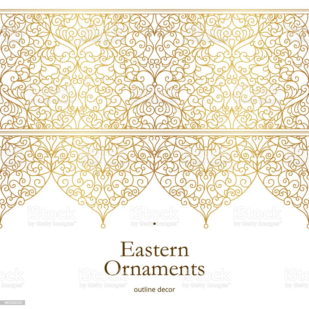 Vector vintage seamless border in Eastern style. vector art illustration
