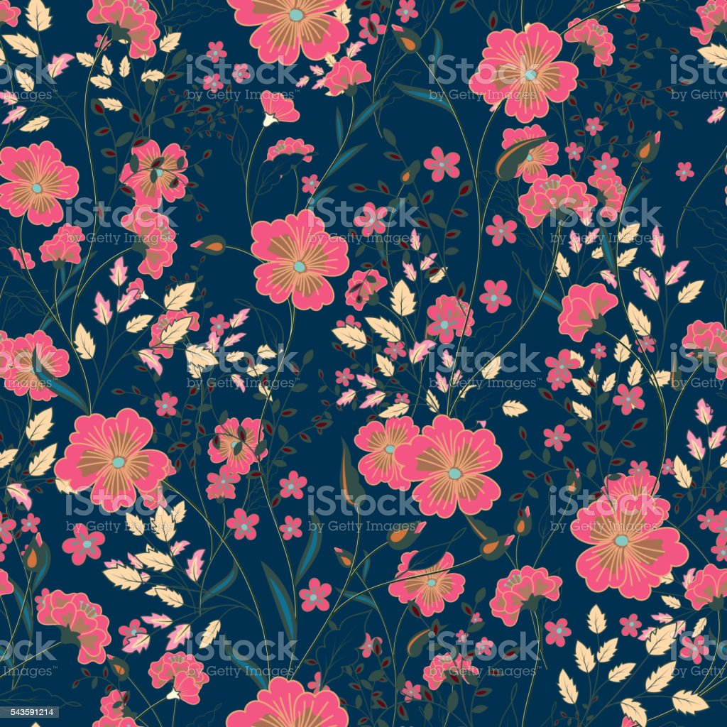 Vector vintage seamless floral pattern. Herbs and wild flowers. vector art illustration
