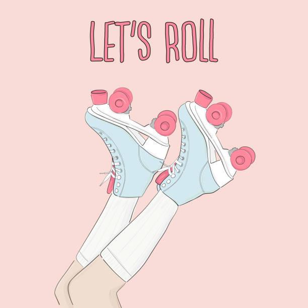 vector vintage skating poster mit motivierenden typografie. handgezeichnete rollschuhe skizze abbildung mit zitat. 80er und 90er jahre party dekoration. - rollschuh stock-grafiken, -clipart, -cartoons und -symbole