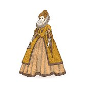 Vector vintage sketch illustration. Gentlewoman Elizabethan epoch 16th century. Medieval