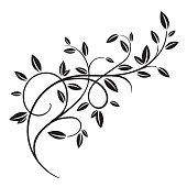 Hand drawn vector vintage spring tree branch with leaves isolated on white background. Retro swirl ornate garden decoration, border, frame, corner. For calligraphy style postcard, menu, wedding invitation, romantic graphic design.