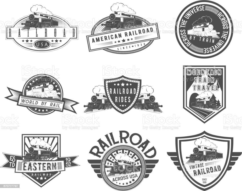 Vector vintage steam train set vector art illustration