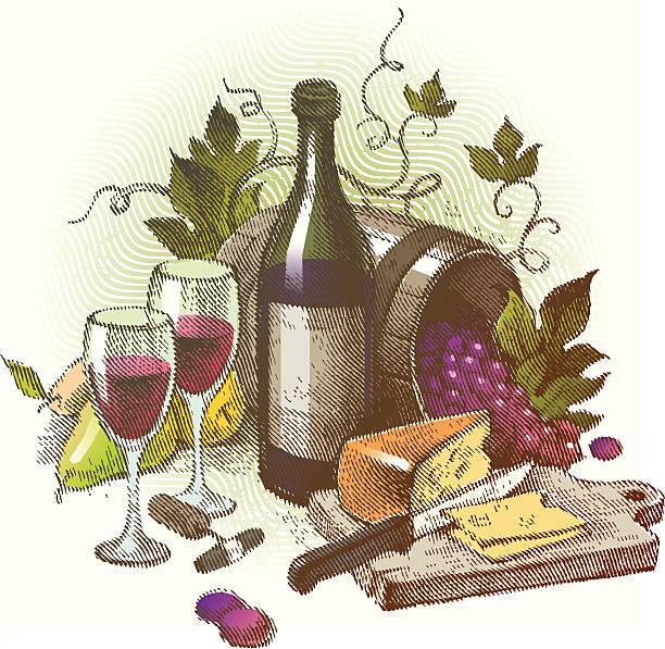ilustraciones, imágenes clip art, dibujos animados e iconos de stock de vector vintage vida con vino y las uvas - busy restaurant kitchen