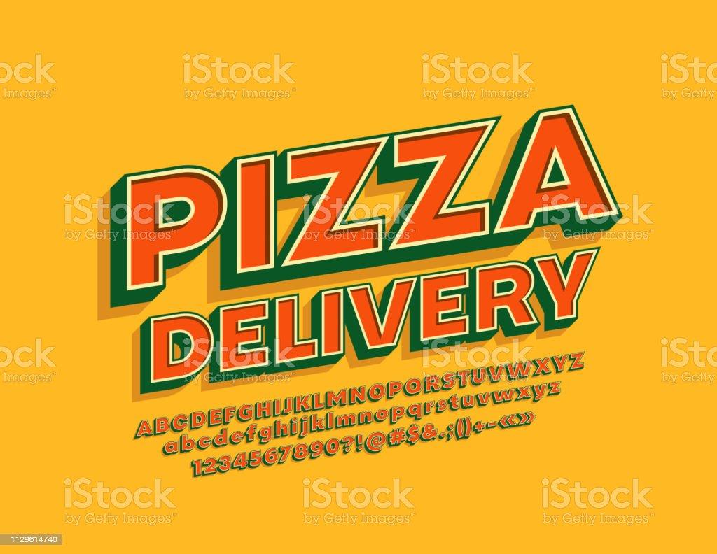 Vector vintage style emblem Pizza Delivery with 3D cool Alphabet - Grafika wektorowa royalty-free (Alfabet)