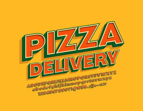 illustrations, cliparts, dessins animés et icônes de vector emblème vintage style pizza delivery avec alphabet cool 3d - pizza