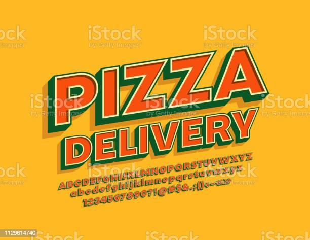 Vector Vintage Style Emblem Pizza Delivery With 3d Cool Alphabet - Stockowe grafiki wektorowe i więcej obrazów Alfabet