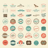 Vector Vintage Styled Premium Quality and Satisfaction Guarantee Label collection