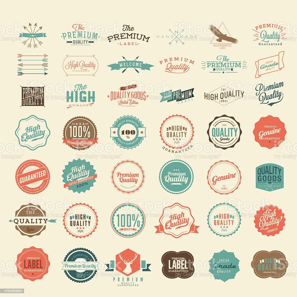 Vektor Vintage Stil Premium-Qualität und Zufriedenheit garantieren Label Kollektion – Vektorgrafik