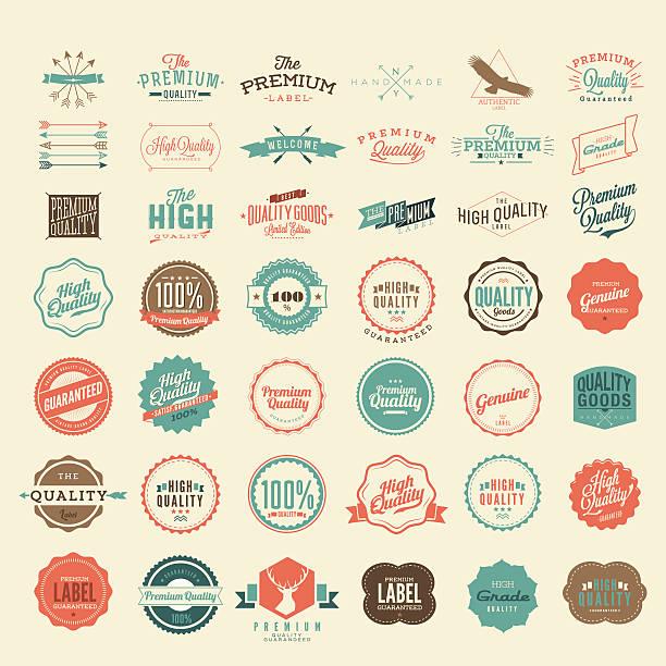 wektor w stylu vintage premium wysokiej jakości i satysfakcji gwarancja etykiety kolekcja - pieczęć znaczek stock illustrations