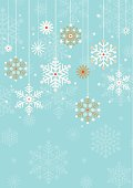 Vintage styled hanging snowflake design with space for copy.