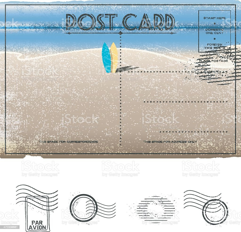 vector vintage summer and beach themed post card design vector art illustration