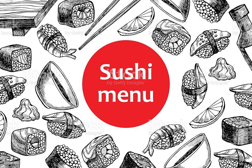ベクトルヴィンテージの寿司レストランメニューのイラスト。 ベクターアートイラスト