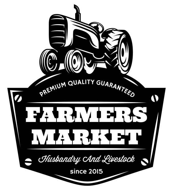 illustrazioni stock, clip art, cartoni animati e icone di tendenza di vector vintage tractor. - trattore