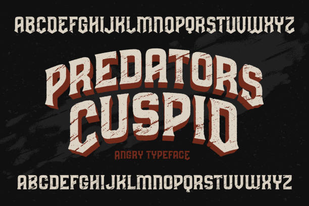 vector vintage typeface with scratched old texture effect - tattoo fonts stock illustrations