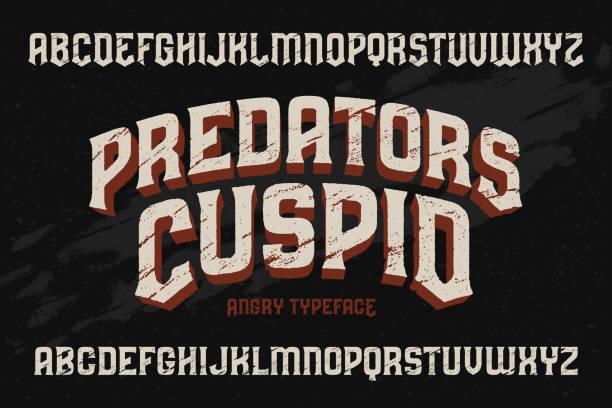illustrations, cliparts, dessins animés et icônes de typographie vintage vector avec effet de texture vieux rayé - polices de tatouage