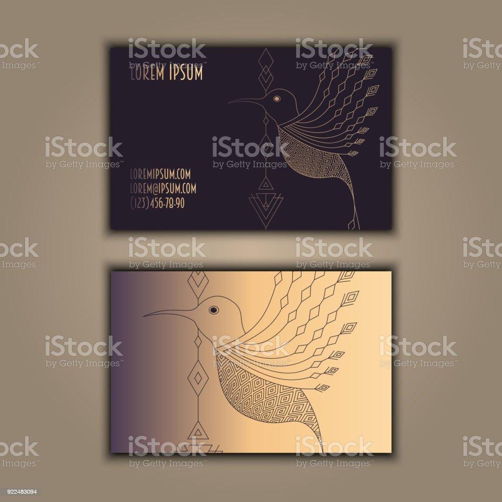 Jeu De Carte Visite Vintage Vectorielles Brillant Oiseau Gomtrique Design Luxe