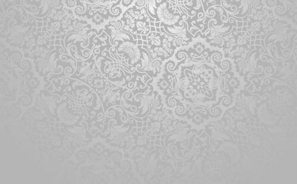Vector Vintage Wallpaper Design Elegant floral vector background. Silver toned vintage decorative texture. grace stock illustrations