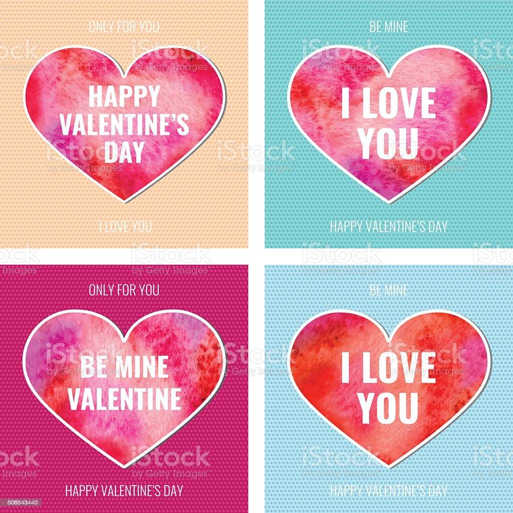 Vector Vintage Watercolor Beautiful Happy Valentines Day Cards Set