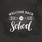 Vector vintage Welcome Back to school logo. Retro sign with pencil. Children education background. Knowledge day design concept.