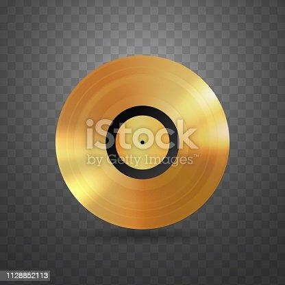 Vector vinyl disc music award isolated design element Plastic golden disk on transparent background
