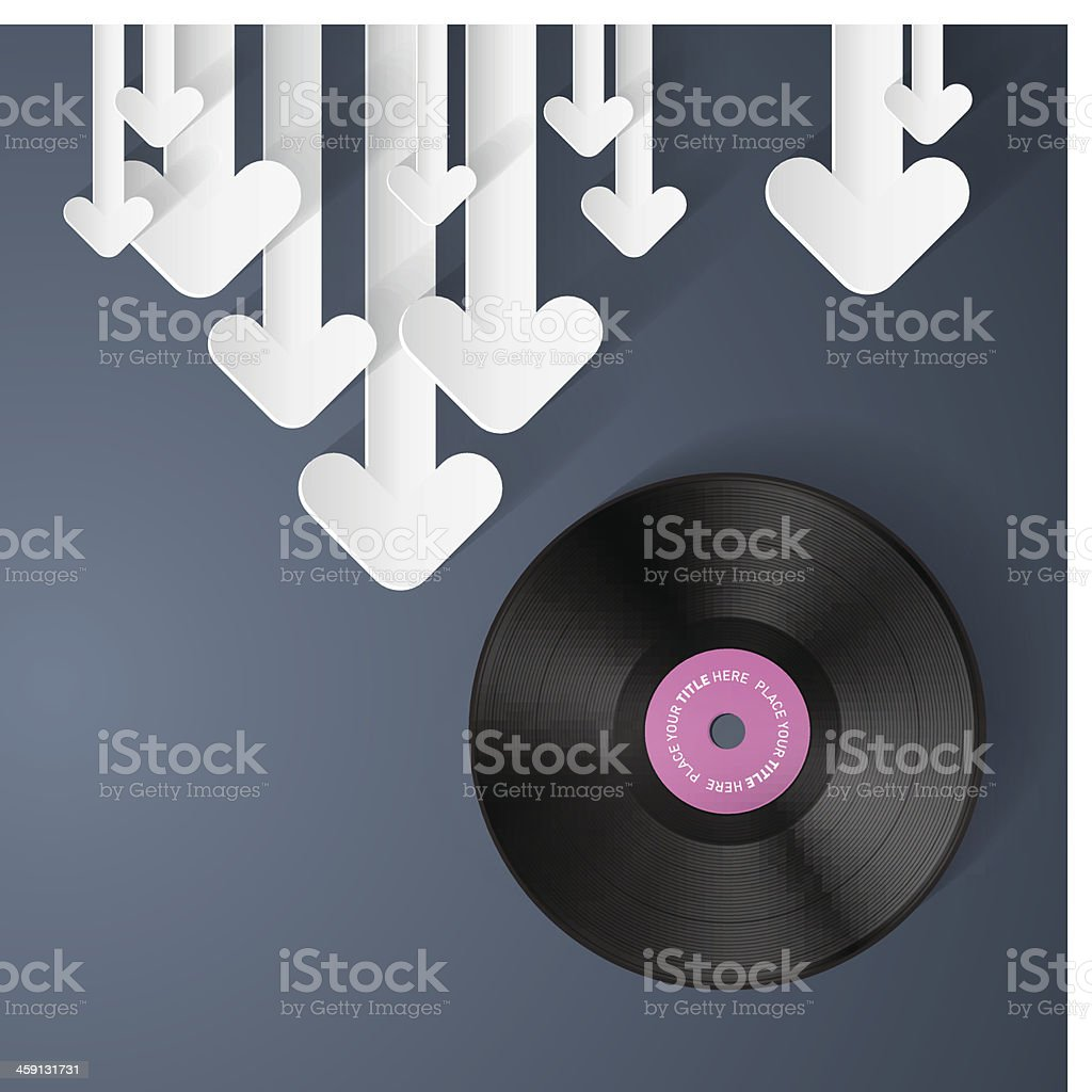 Vector Vinyl Record Disc Background with Paper royalty-free stock vector art