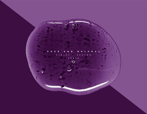 Vector violet cosmetic background with gel texture, glossy natur texture, clear colored pure gel