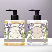 Vector Violet Lavender Theme Hand Soap & Lotion Clear Pump Bottle or Dispenser Packaging Set.