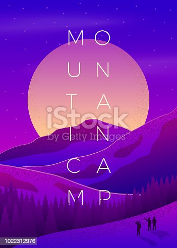 Vector bright violet summer mountain camping poster template with setting sun, forest and mountains on soft background.
